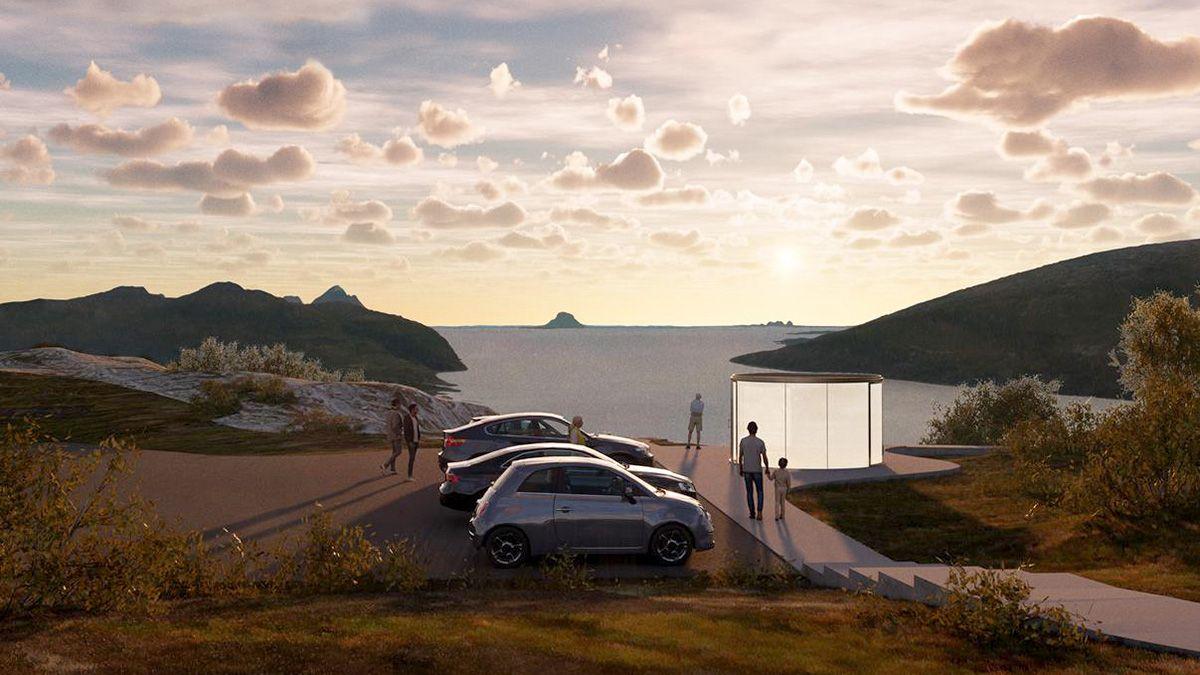 Sjonfjellet, Helgelandskysten. Rasteplass med toalett med utsikt mot fjord, kyst og hav. Prosjektet startes opp i 2020 og fullføres i 2021. Arkitekt og illustrasjon, Atelier Oslo.
