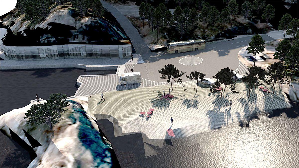 Rasteplass på nedlagt ferjeleie. Prosjektet fullføres i 2020. Arkitekt og illustrasjon: KAP.