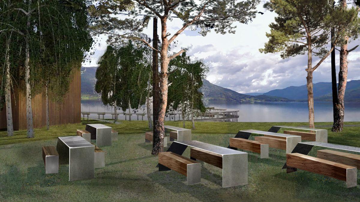 Hestad, Gaularfjellet. Toalett, utsiktsrampe og rast ved kulturminne. Prosjektet startes opp i 2020 og fullføres i 2021. Arkitekt og illustrasjon: Nils Mannsåker.