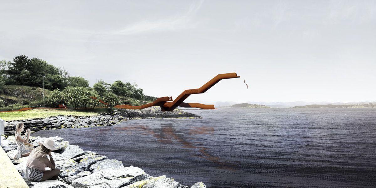 «Værbitt» av Team ASAS vant konkurransen om nytt stupetårn på Strømvik i Stavanger. Illustrasjon: Team ASAS