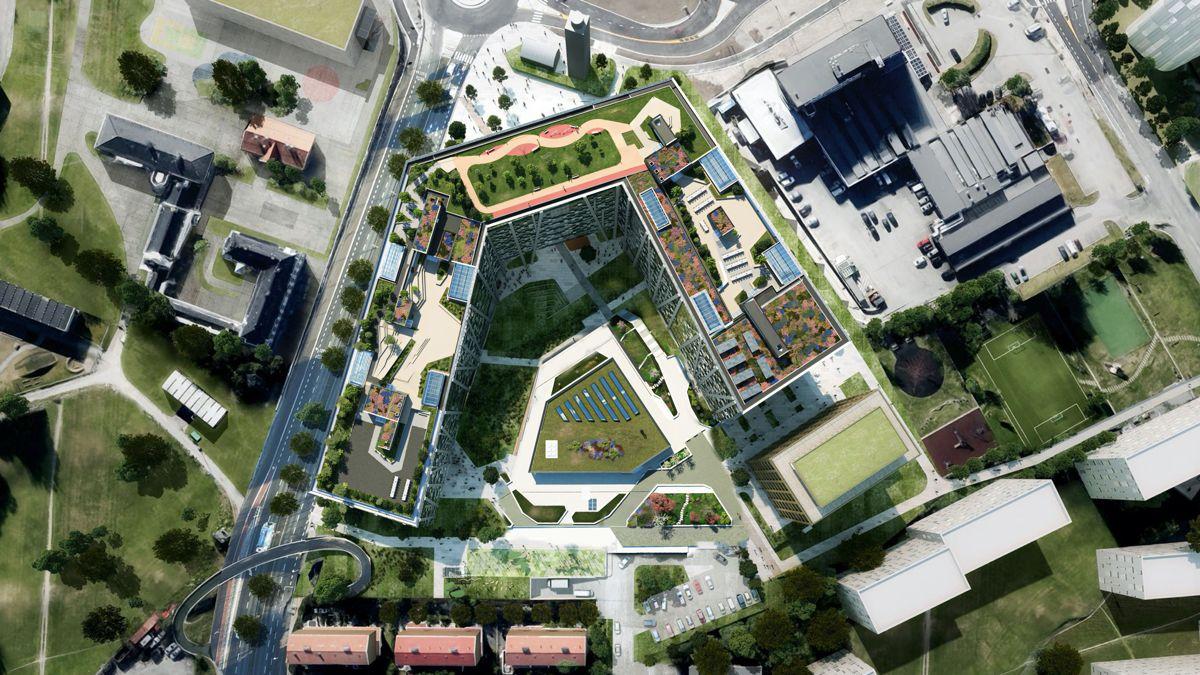 Arealet på taket er like stort som en fotballbane. Illustrasjon: DARK