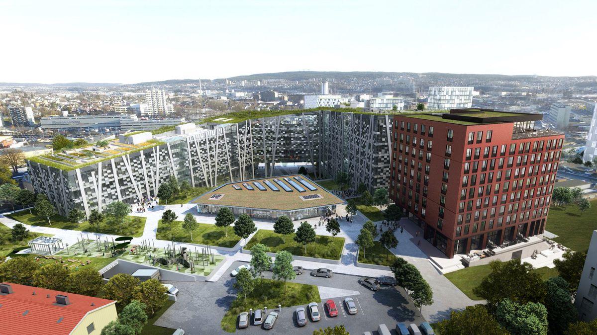 Økern Portal er 80.000 kvadratmeter og blir et sentralt landemerke i Hovinbyen. Illustrasjon: DARK