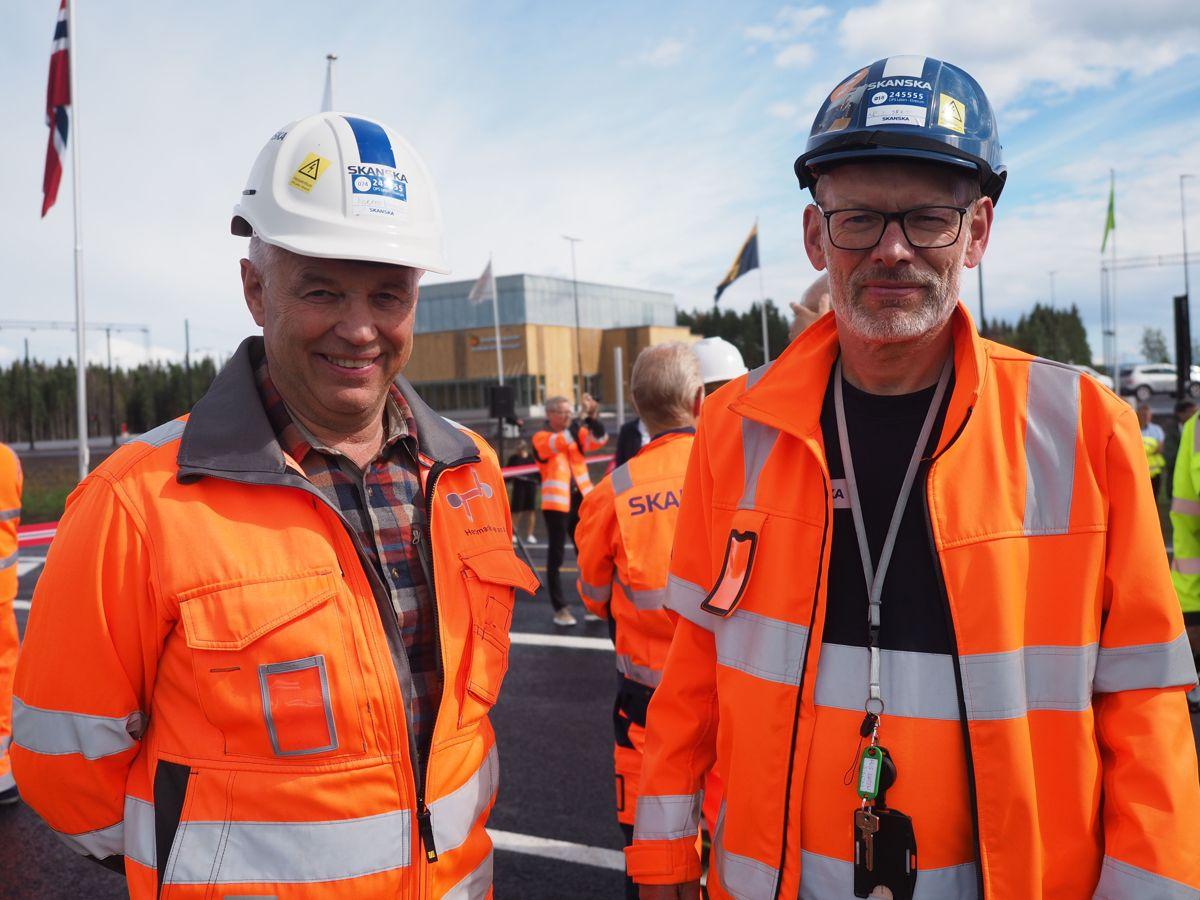Daglig leder Morten Wangen i OPS-selskapet Hedmarksveien og prosjetleder Ketil Sand i Skanska. Foto: Jørn Hindklev