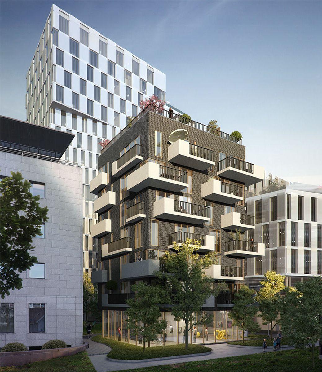 Det nye boligbygget foran blir nærmeste nabo til Orklas nye hovedkontor. Den gamle «Essobygningen» til venstre. Arkitekt for begge nybygg: Narud Stokke Wiig (NSW)