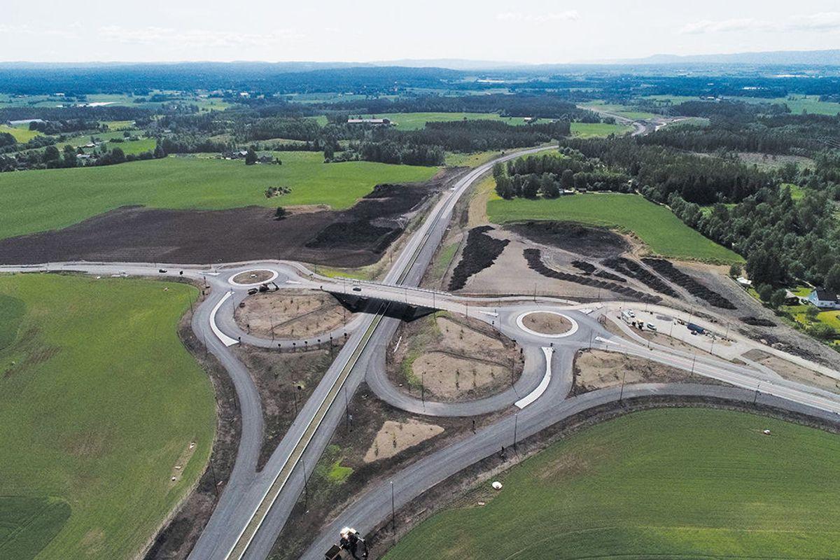 Tønestkrysset. Dronefoto: Statens vegvesen