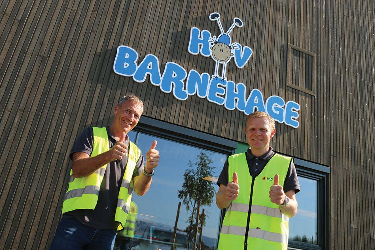 Prosjektleder Tor Harald Pedersen (t.v) og byggeplassleder Jostein Granseth i Backe Oppland, er godt fornøyd med prosjektet.
