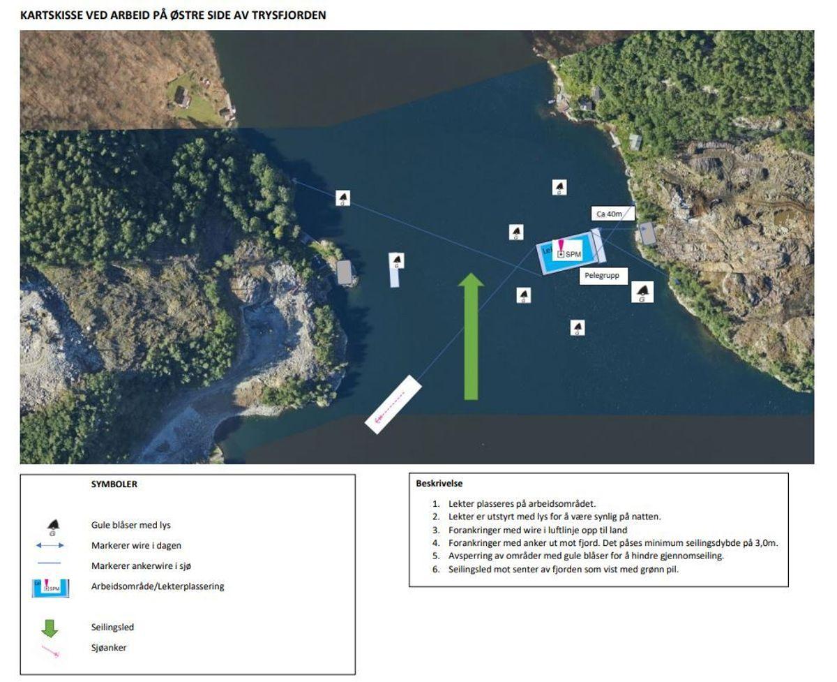 Illustrasjonen viser hvordan arbeidet organiseres på østre side av Trysfjord. Illustrasjon: AF Gruppen