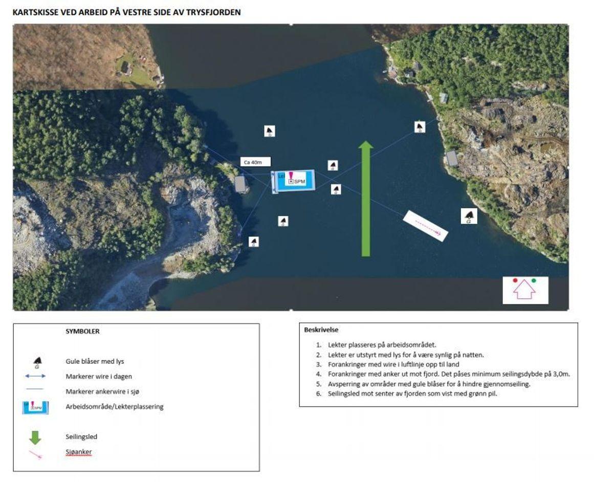 Illustrasjonen viser hvordan arbeidet organiseres på vestre side av Trysfjord. Illustrasjon: AF Gruppen