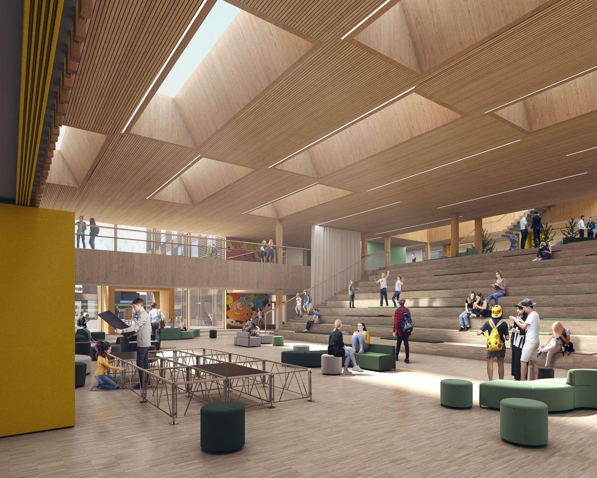 De nye skolene får plass til tusen elever og det totale arealet er 14.800 kvadratmeter. Illustrasjon: Rambøll Arkitekter / Rolvung og Brøndsted