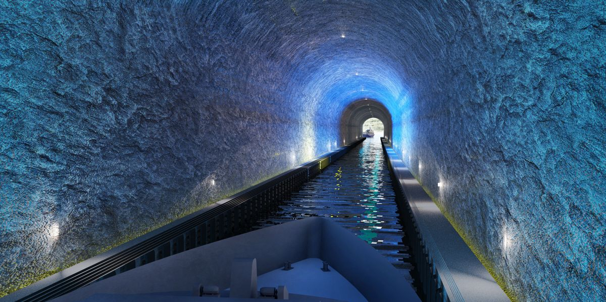 Stad skipstunnel blir 1,7 kilometer lang, 49 meter fra havbunn til tak, og 36 meter bred. Illustrasjon: Snøhetta / Kystverket