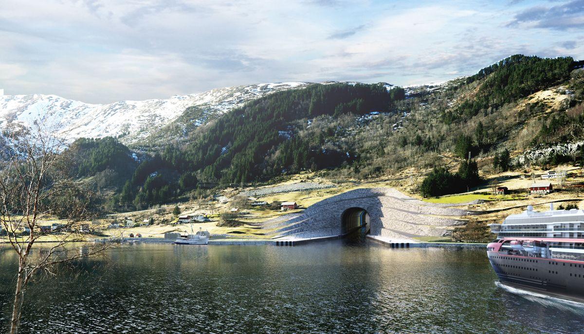 Slik foreslås den nordlige tunnelåpningen i Kjøde i Selje. Illustrasjon: Snøhetta / Kystverket