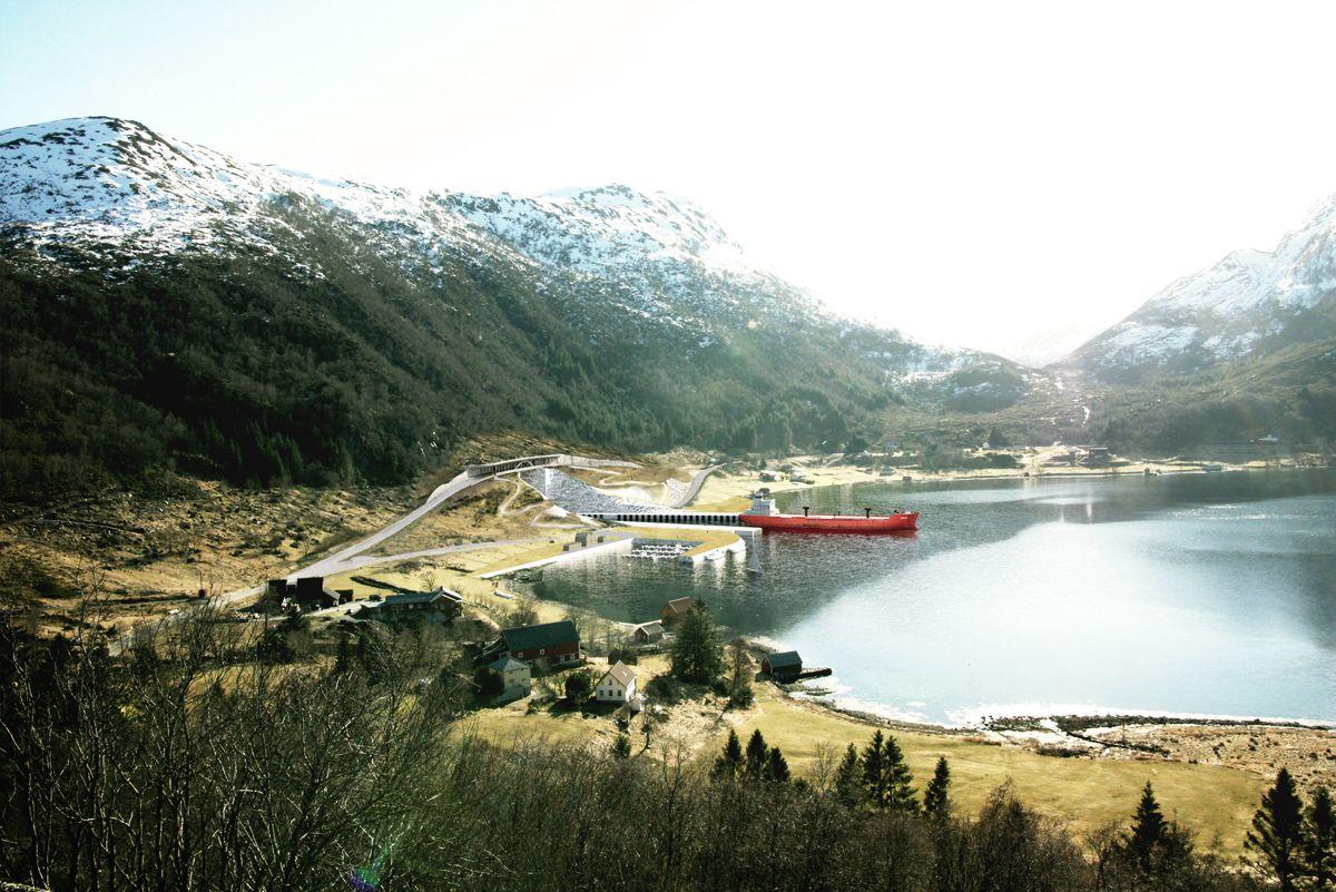Det bygges bru og rasoverbygg over den sørlige tunnelåpningen i Moldefjorden. Illustrasjon: Snøhetta / Kystverket