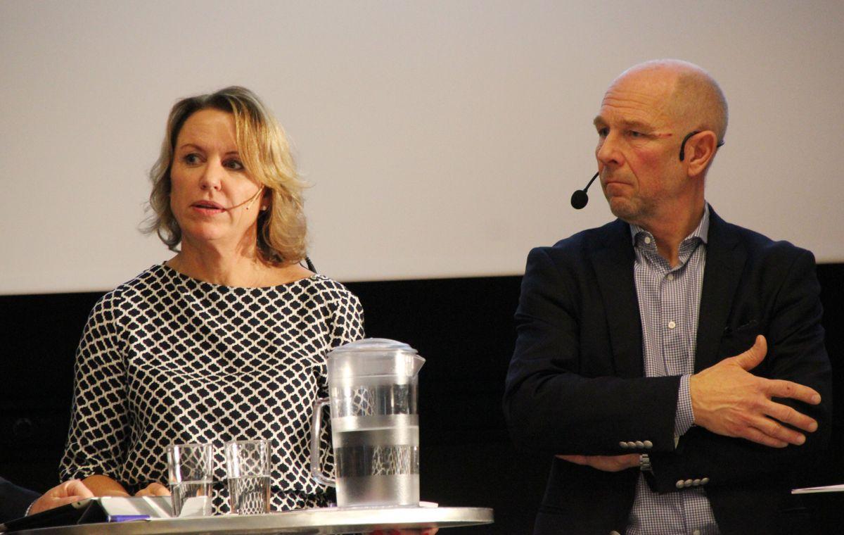 Liv Kari Skudal Hansteen, adm direktør i Rådgivende Ingeniørers Forening og Egil Skavang, adm direktør i Arkitektbedriftene. Foto: Svanhild Blakstad