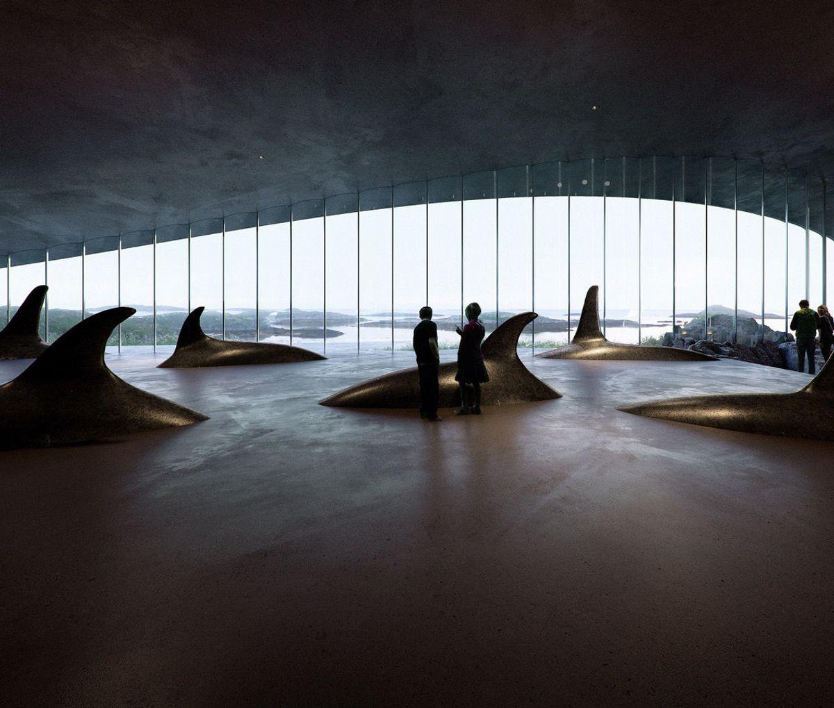 En spekkhoggerfamilie bryter havoverflaten i denne utstillingen. llustrasjon: MIR, Bergen.