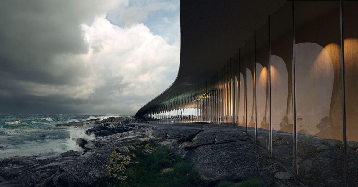 Arkitekturen til The Whale, utformet av danske Dorthe Mandrup har allerede vakt oppsikt over hele verden. Storsatsingen har fyldig omtale i Lonely Planet, Forbes, Daily Mail og The Mirror. Illustrasjon: MIR, Bergen.