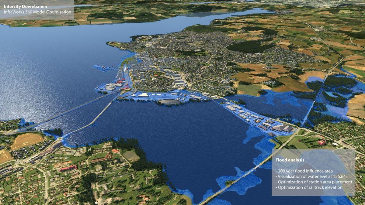 Så høy kan vannstanden bli ved en 200-års flom i Mjøsa. Det er mye å ta hensyn til når en bygger jernbane. Illustrasjon: Rambøll og Sweco