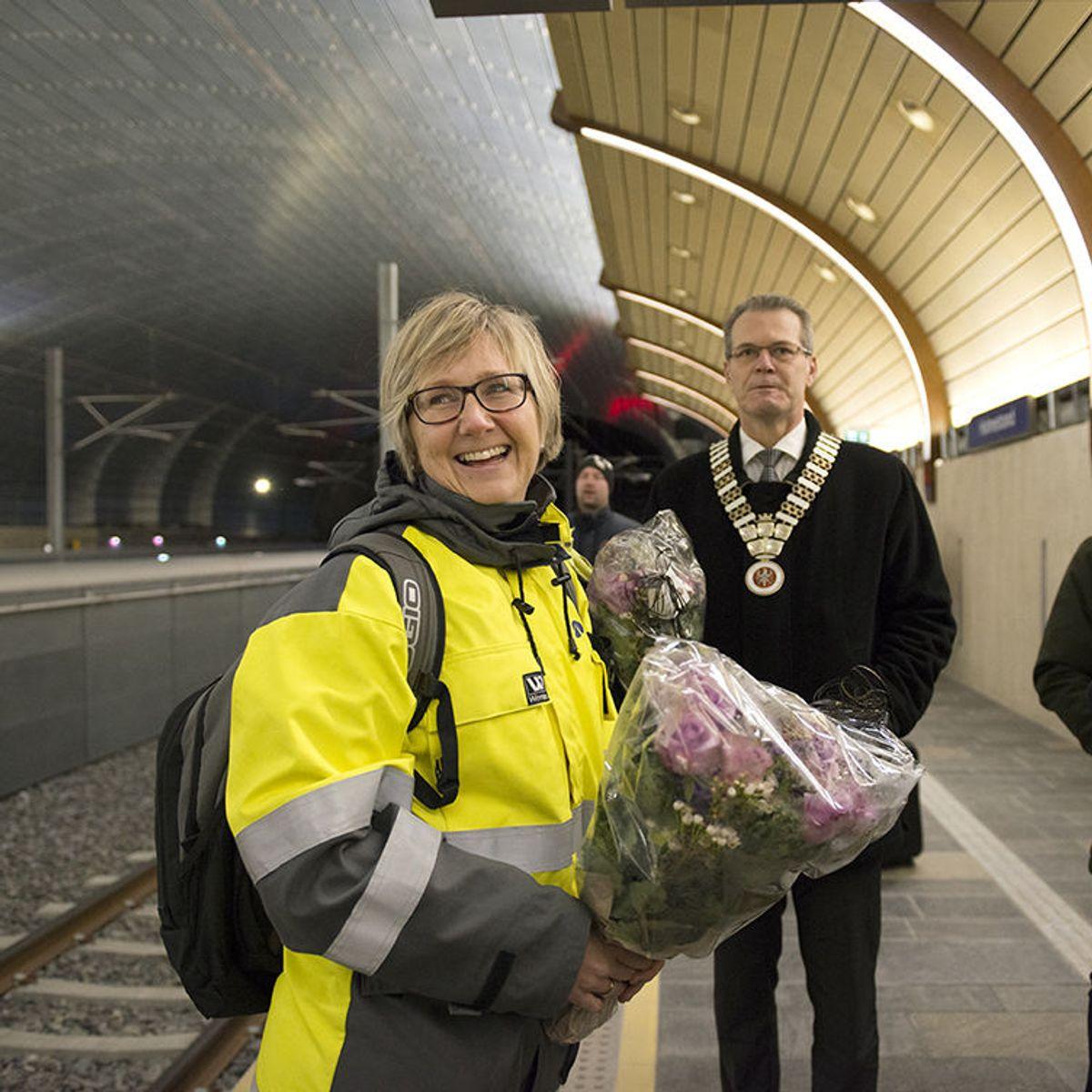 Holmestrand-ordfører Alf Johan Svele og prosjektdirektør Stile Ilebrekke Undrum. Foto: Anne Mette Storvik