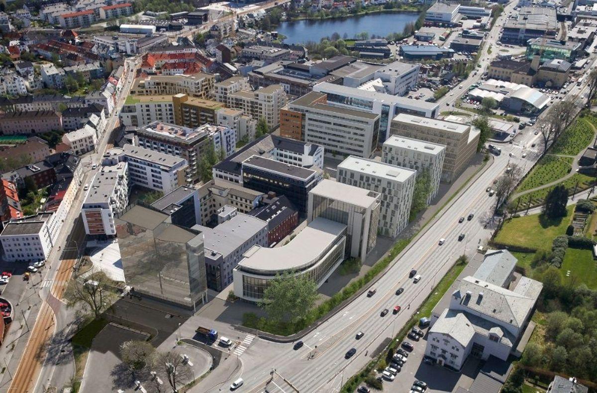 Midtbygget ligger langs Fjøsangerveien, rett sør for Buebygget. Det består av to høye deler og et lavere midtbygg (ikke synlig på bildet). Samlet areal er 18.200 kvadratmeter. Illustrasjon: BARA Eiendom