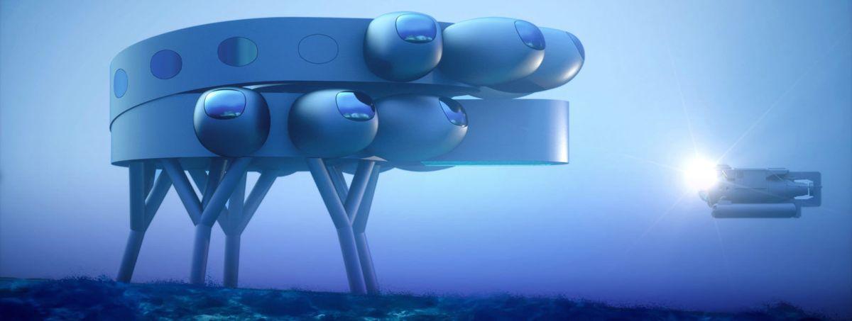 Undervannsbasen Proteus skal bygges nesten 20 meter under havoverflaten i Det karibiske hav. Illustrasjon: Proteus