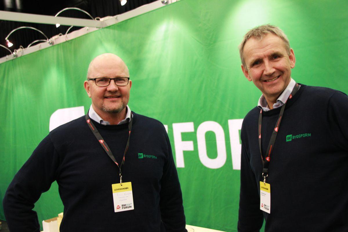 Kjetil Evensen og Åge Rasmussen sto på stand for Byggform på Byggmakker Forum.