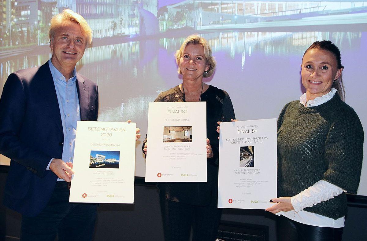Unicon leverte betong til alle de tre nominerte prosjektene. F.v. Bent Nygren, Mona Ottem og Heidi Grytbak.