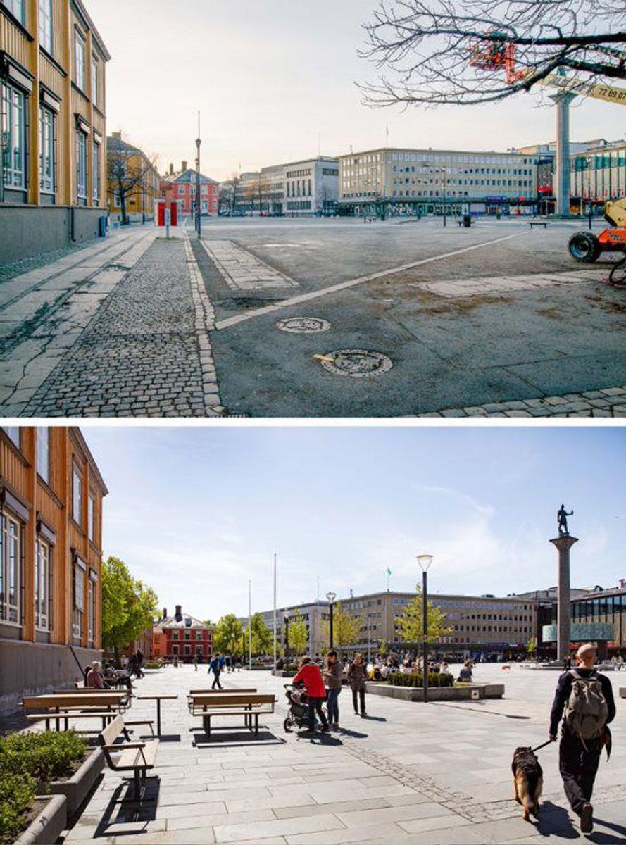 Torvet i Trondheim før og etter transformasjonen. Glen Musk