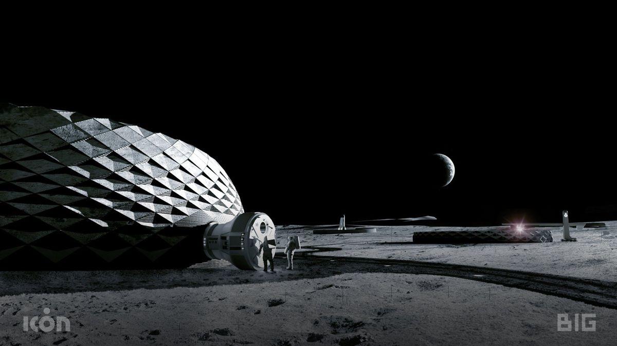 Det blir et nytt stort steg for menneskeheten når de første boligene på månen bygges. Bjarke Ingels Group (BIG) er med og designer de banebrytende byggene i samarbeid med NASA og teknologiselskapet Icon. Illustrasjon: BIG/Icon