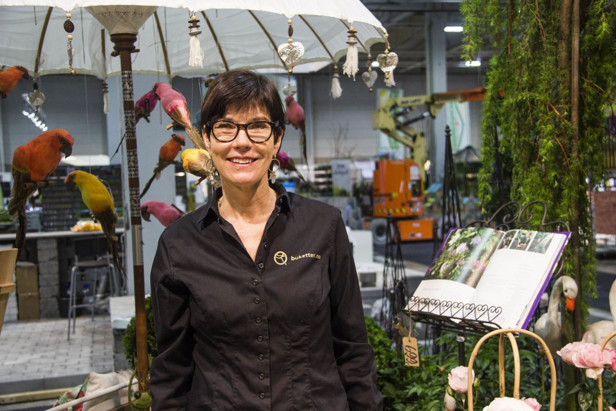 Margit Sagvolden hos Interflora Strømmen var en av utstillerne på årets Hagemesse. Foto: Madeleine Bergheim