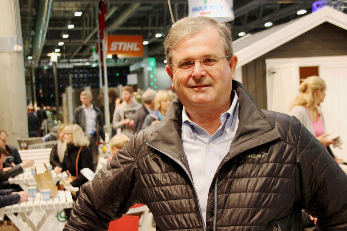 Maxbo-sjef og eier Carl Otto Løvenskiold besøkte Hagemessen 2017. Foto: Svanhild Blakstad
