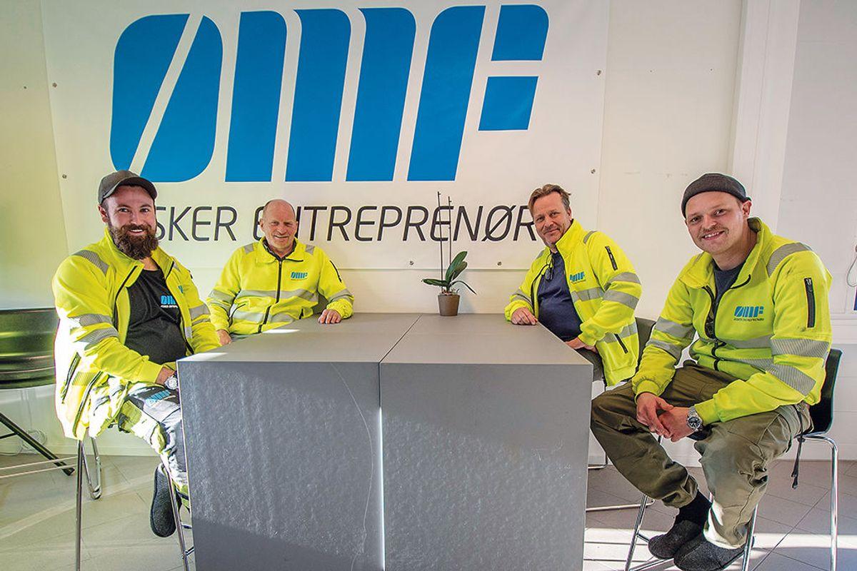 Christian Pedersen (fra venstre), Roy Myhren, Jørn Gaarder Lie og Aleksander Ileby Moth i Asker Entreprenør.