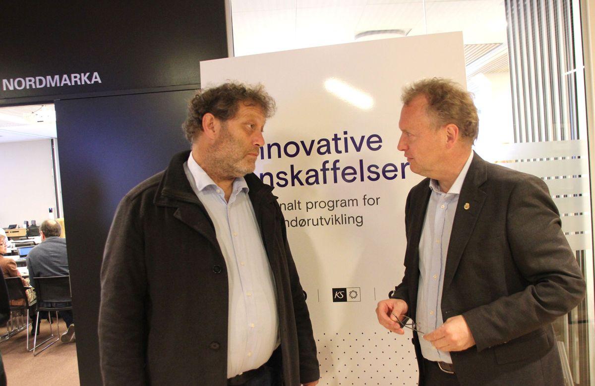 GAMLE KJENTE: Bellona-leder Fredric Hauge og byrådsleder Raymond Johansen deltok begge med innlegg på konferansen om utslippsfrie bygge- og anleggsplasser. Foto: Svanhild Blakstad
