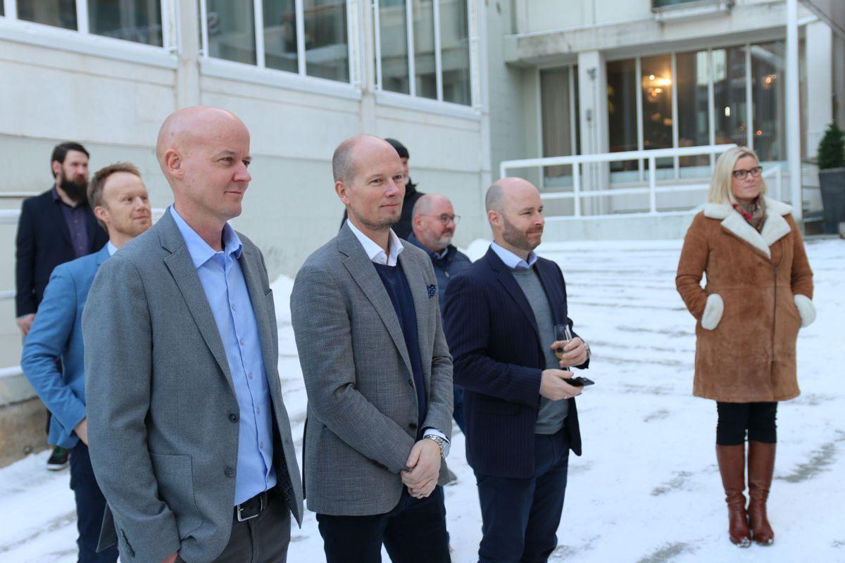 Administrerende direktør Jo Simen Drågen i Utstillingsplassen Eiendom (t.v) og Sten Gunnar Torseter i Driv Prosjektstyring.