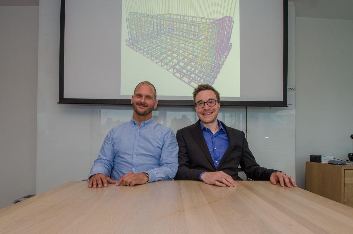 Henning Habberstad (til venstre) og Patrick Mahieu har fått oppleve effekten av å fjerne 2D-tegingene fra armeringsfaget.