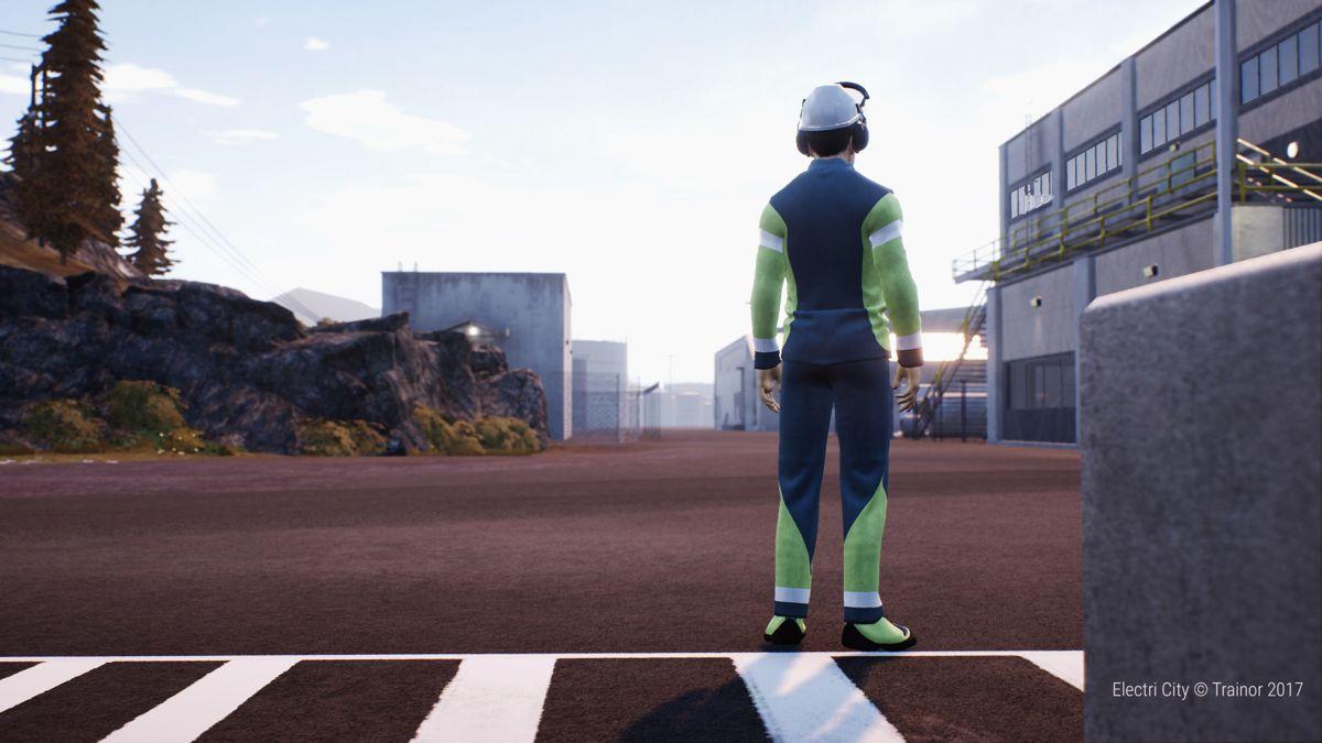 <p>I den konstruerte 3D-verdenen Electri City kan kursutviklerne skape realistiske scenarier, og i kombinasjon med VR-teknologi blir det mulig å gjennomføre trening for risikofylt arbeid i trygge omgivelser. Illustrasjon: Trainor</p>
