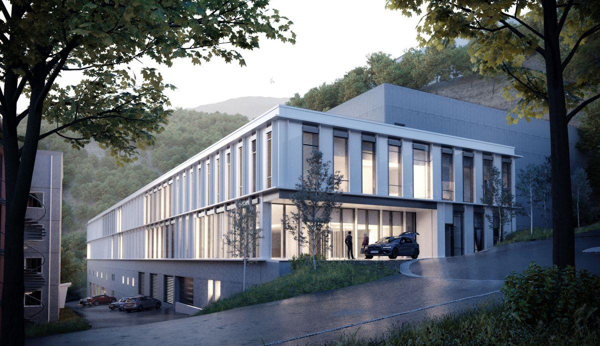 <p>Protonsenteret skal bygges i fjellsiden rett over nedre stasjon av Ulriksbanen. På sedumtaket etableres et solcelleanlegg, og deler av parkeringsgarasjen kles med grønne klatreplanter. Illustrasjon: Arkitema</p>