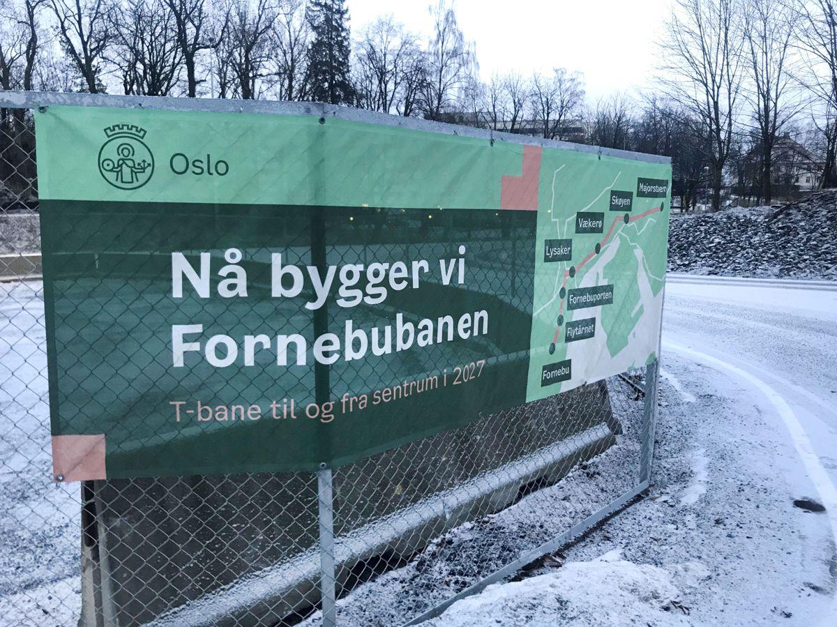 Fornebubanen er en ny T-banestrekning som skal gå fra Majorstuen til Fornebu. Grunnarbeidene er startet og prosjektet skal stå ferdig i 2027. Banen skal bygges i samarbeid med Oslo kommune og Viken fylkeskommune. Foto: Svanhild Blakstad