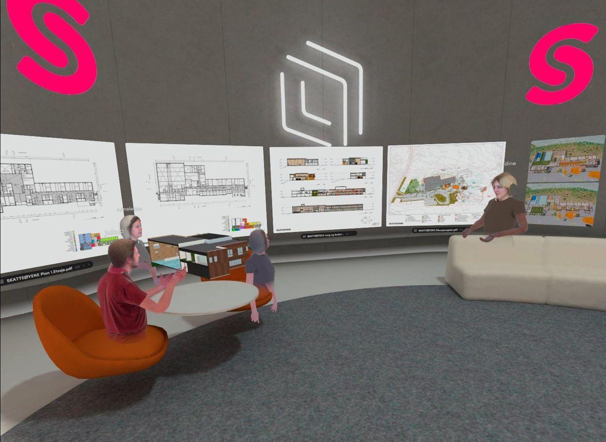 Både jobbmøter og sosiale sammenkomster gjennomføres i virtuell virkelighet i Spinn Arkitekter. Foto: Spinn Arkitekter