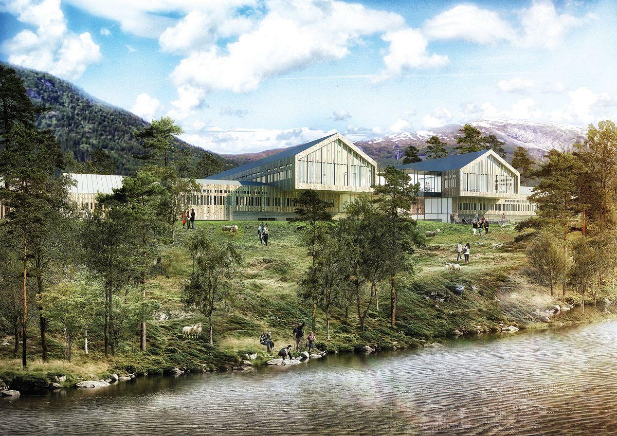 Slik ser Nordic og AART for seg nye Voss videregående skole.