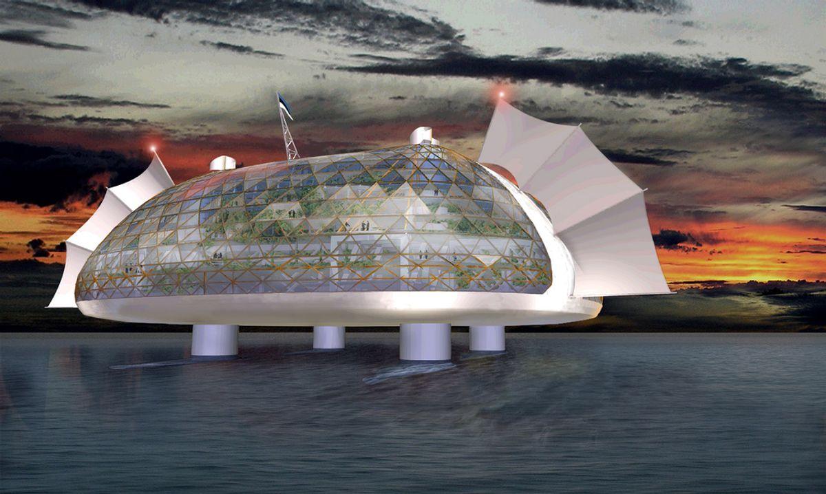 Slik kan en flytende by se ut. Illustrasjon: The Seasteading Institute