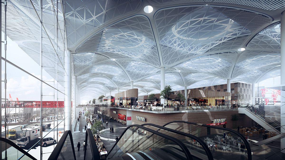 Istanbul New Airport blir verdens største. Illustrasjonene hadde Norges-premiere under Byggedagene onsdag. Illustrasjon: Nordic
