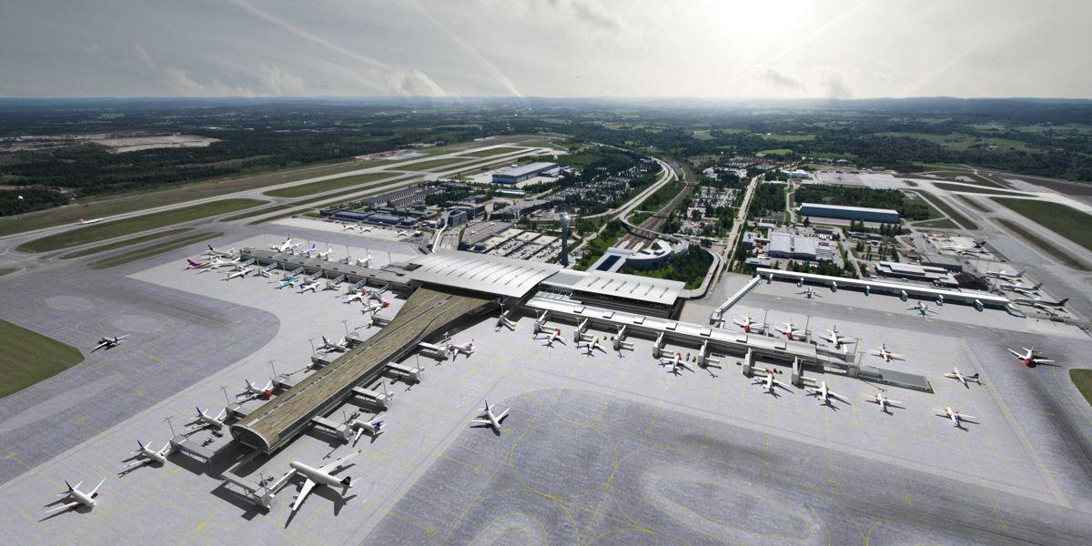 kapasiteten fordobles på Oslo lufthavn. Illustrasjon: Nordic