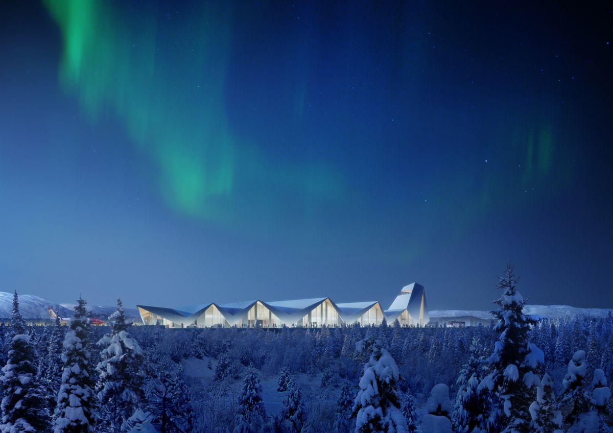 Polarsirkelen Lufthavn er vedtatt bygget. Her er Nordic med i konkurransen. Illustrasjon: Nordic