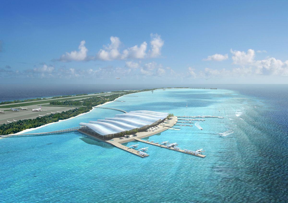 Hanimaadhoo International Airport på Maldivende er en flyplass utenom det vanlige. Illustrasjon: Nordic