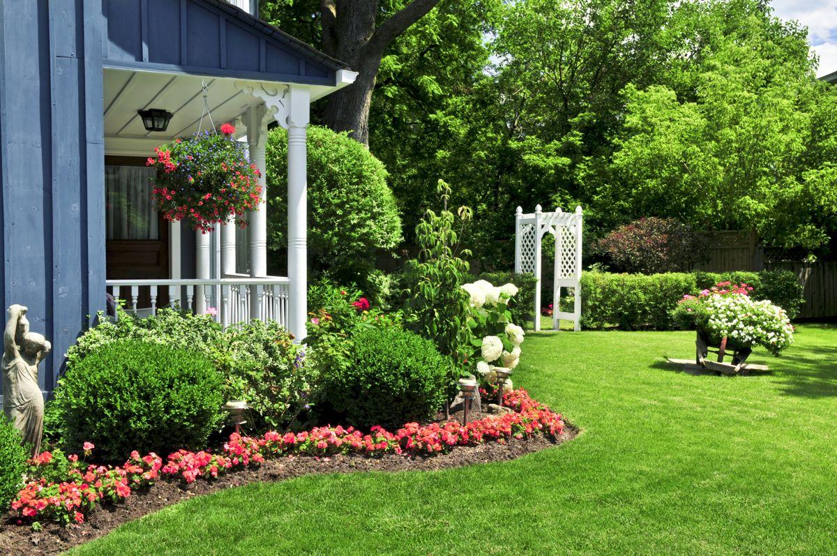 En grønn og frodig gressplen er en pryd for enhver hage.