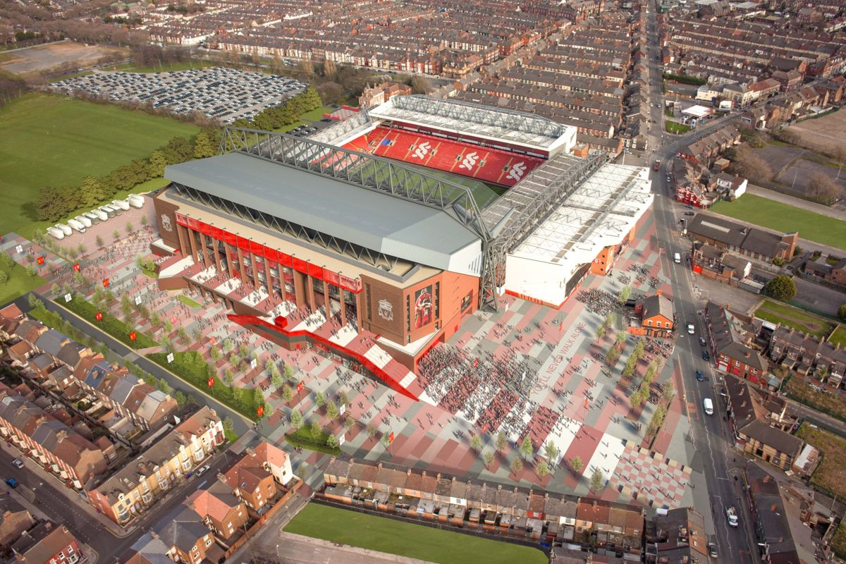 Slik ser Liverpools stadion Anfield ut i dag.