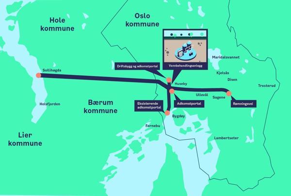 Prosjektet Ny vannforsyning Oslo vurderer samspill på fire entrepriser. Ill. Vann- og avløpsetaten