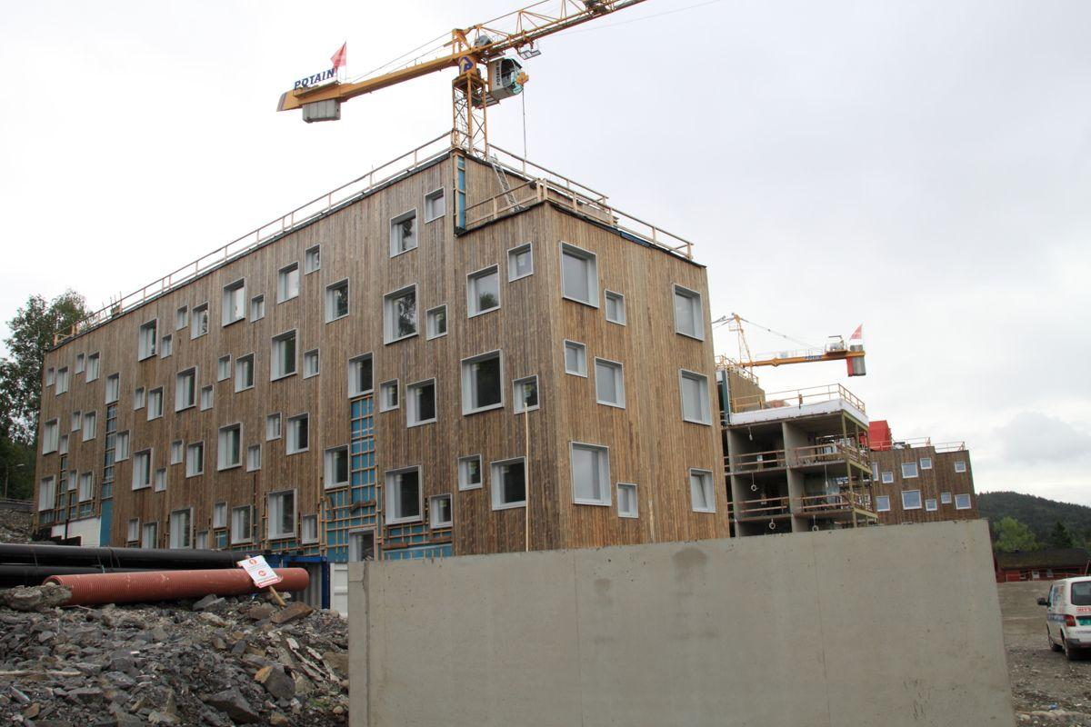 Slik ser det ut ved de nye studentboligene per i dag. Prosjektet ligger foran framdriftsplanen.