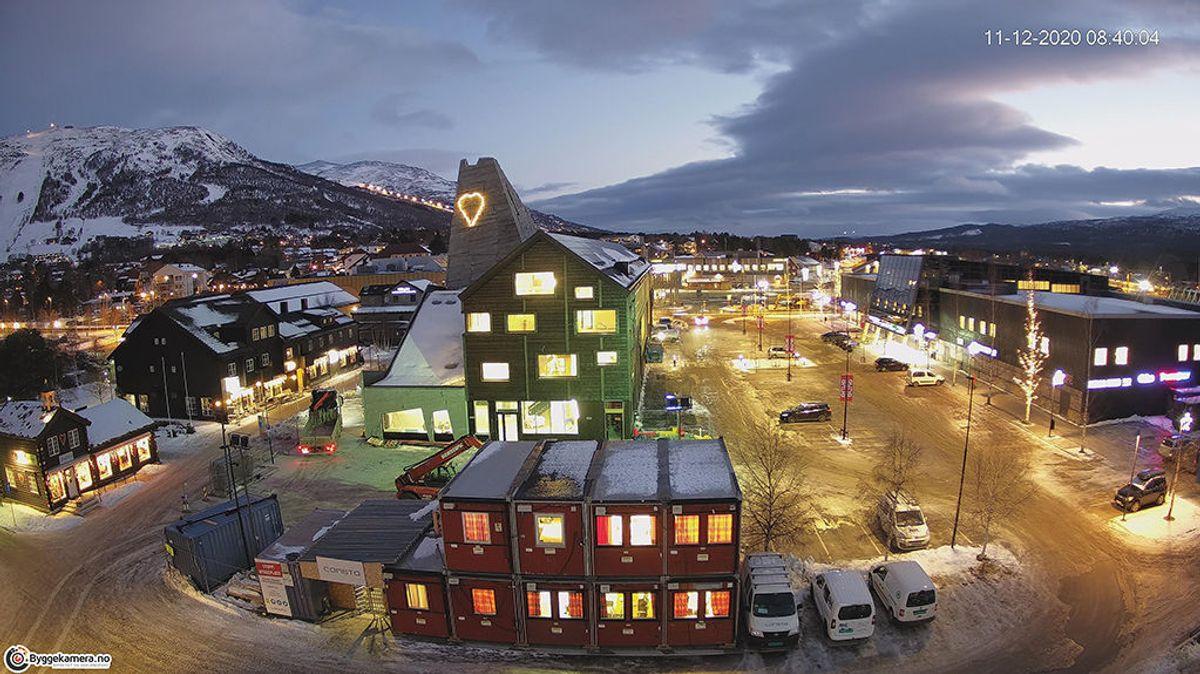 Det nye innovasjonssenteret i fin vinterstemning. Foto: Byggekamera Consto
