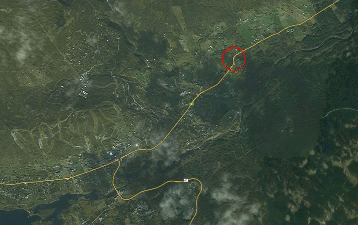 Det innringede feltet på kartet, sør for Geilo sentrum viser ulykkesområdet. Kart: Google maps