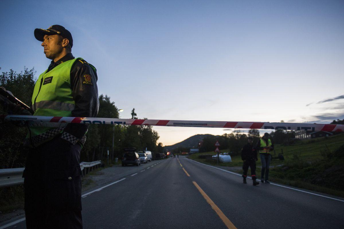 <p>Innsatsleder Odd Hallvard Seterdal ved politietsperringen på riksvei 7 onsdag kved. Tre personer omkom onsdag i en sprengningsulykken på Geilo. Foto: Fredrik Varfjell / NTB scanpix</p>
